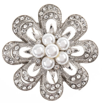Imitation Pearl & Rhinestone Flower Brooch
