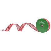 """Merry Christmas Vintage Wired Edge Ribbon - 1"""""""