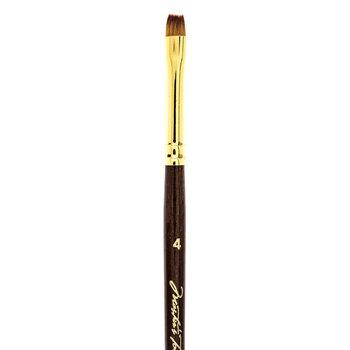 Golden Taklon Chisel Blender Paint Brush - Size 4