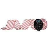 Ticking Striped Wired Edge Ribbon - 2 1/2""