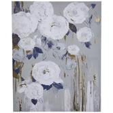 White, Blue & Gold Foil Floral Canvas Wall Decor
