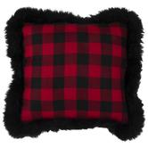 Buffalo Check Pillow With Fur Edge