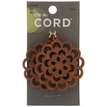 Brown Filigree Flower Wood Pendants