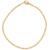 "10K Gold Plated Flat Oval Chain Bracelet - 7 1/2"""