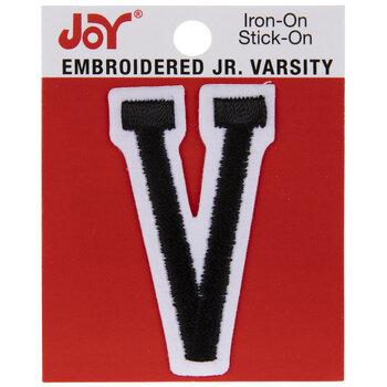 "Black Junior Varsity Letter Iron-On Applique V - 2"""