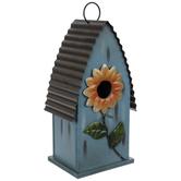 Blue Floral Wood Birdhouse