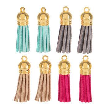Turquoise, Pink, Tan & Gray Imitation Leather Tassel Embellishments