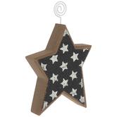 Blue & White Stars Wood Photo Clip