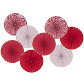 Red & White Paper Fans
