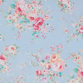 Floral On Blue Cotton Calico Fabric