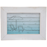 Beach Umbrella & Chairs Wood Wall Decor