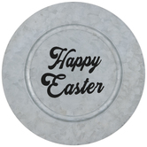 Happy Easter Galvanized Metal Plate Charger