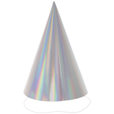 Silver Iridescent Foil Party Hats