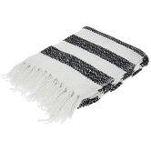 White & Black Striped Throw Blanket