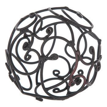 Black Iron Decorative Sphere With Open Swirls