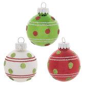 Red, Green & White Glitter Dot Ball Ornaments