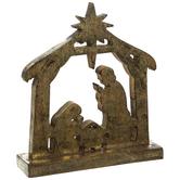 Antique Gold Nativity Silhouette Wood Decor