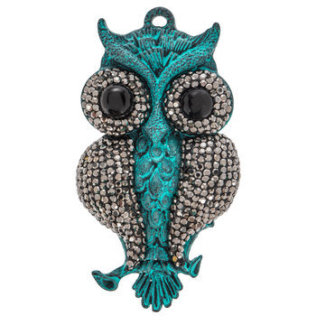 Plated Hematite & Patina Rhinestone Owl Pendant