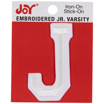 """White Junior Varsity Letter Iron-On Applique J - 2"""""""