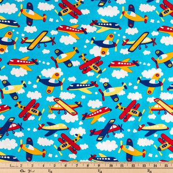 Airplanes Allover Cotton Calico Fabric