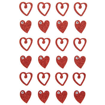 Red Heart Glitter Stickers
