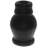 Black Bulbous Wood Candle Holder