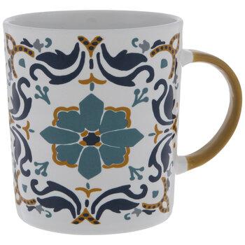Blue & Golden Brown Floral Tile Mug
