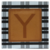 Plaid & Leather Letter Wood Wall Decor - Y