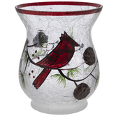Crackled Glass Candle Holder With Cardinal