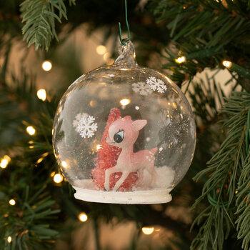 Deer & Tree Snow Globe Ornament