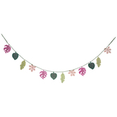 Tropical Leaves & Flowers Stitched Garland