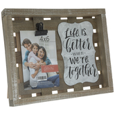 """Life Is Better Wood Clip Frame - 4"""" x 6"""""""