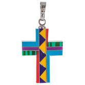 Multi-Color Stone Inlay Cross Charm