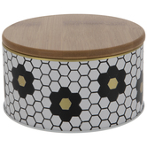 White, Black & Gold Hexagon Tin Canister