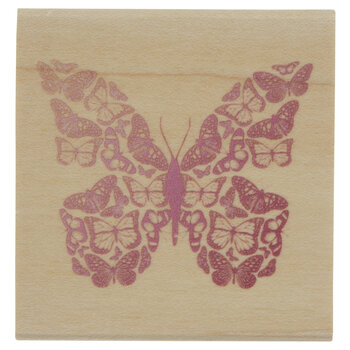 Mosaic Butterfly Rubber Stamp