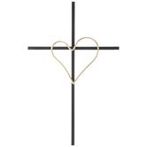 Black & Gold Heart Metal Wall Cross