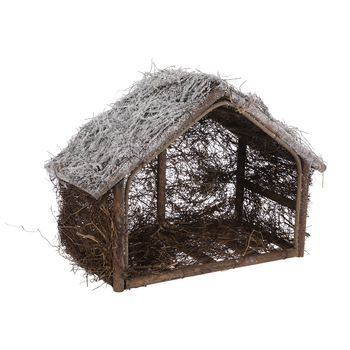Frosted Wood & Twig Nativity Stable