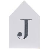 White & Black Letter House Wood Wall Decor - J