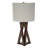 Brown Crossed Wood Lamp