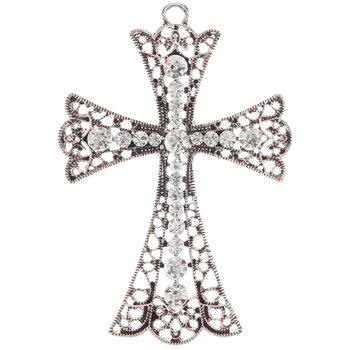 Flared Rhinestone Cross Pendant