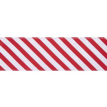 "Red & White Diagonal Striped Wired Edge Ribbon - 2 1/2"""