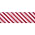 Red & White Diagonal Striped Wired Edge Ribbon - 2 1/2