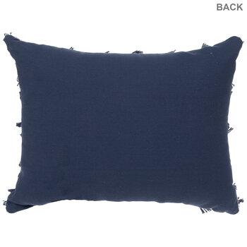 White & Blue Tufted Fringe Pillow