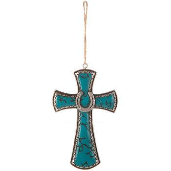 Turquoise Horseshoe Wall Cross