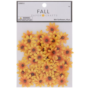 Yellow & Orange Mini Sunflower Embellishments