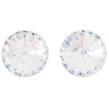 Crystal White Patina Rivoli Crystals - 14mm