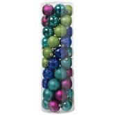 Blue, Purple & Green Matte, Shiny & Glitter Ball Ornaments