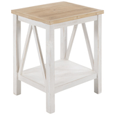 White Farmhouse Wood Side Table