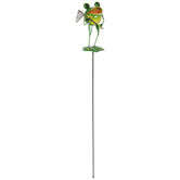 Frog With Butterfly Net Metal Garden Stake