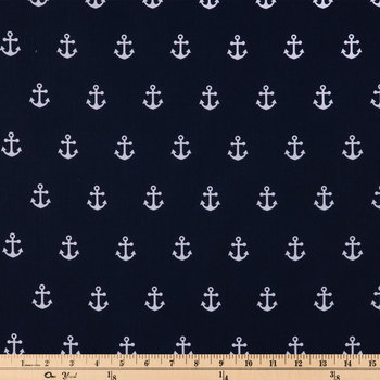 Navy & White Anchors Apparel Fabric